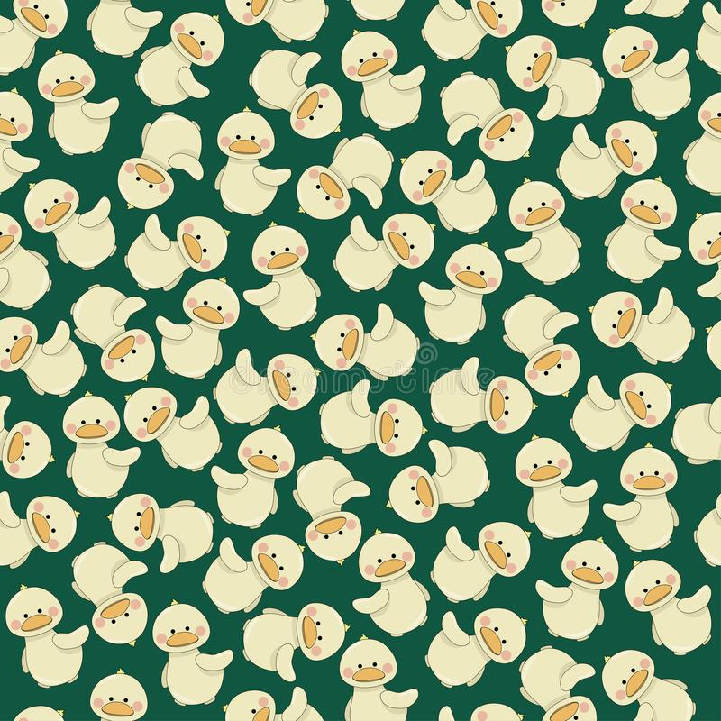 Cute baby duck on green background seamless pattern. Vector illustration royalty free illustration
