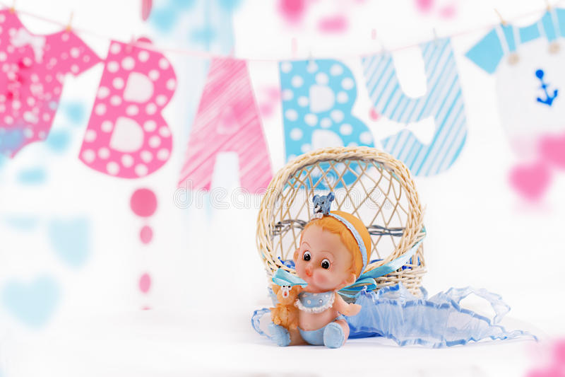 Cute baby elements with word baby and blue toy. Over white stock images