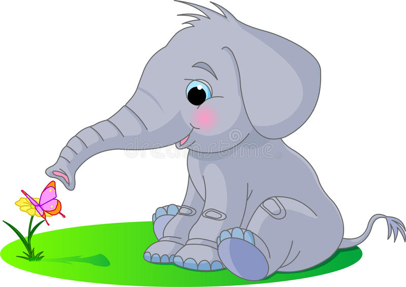 Cute baby elephant royalty free illustration