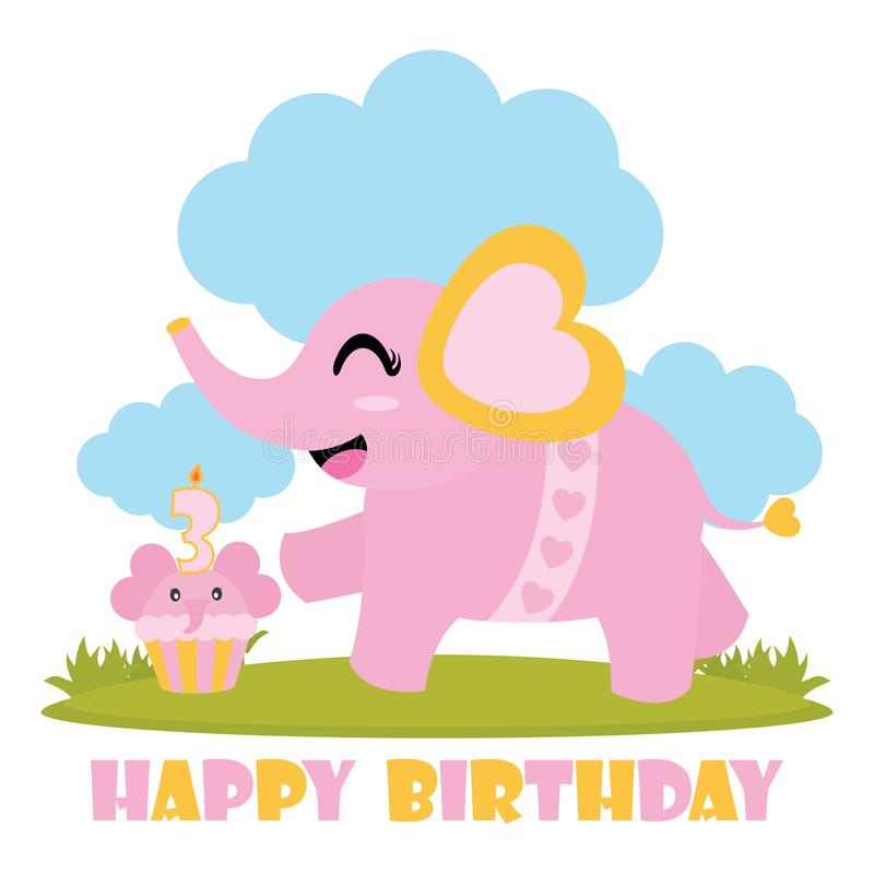 Cute baby elephant with her birthday cake cartoon illustration for Happy Birthday card design vector illustration