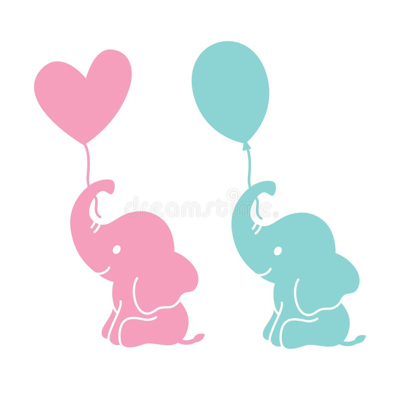 Cute Baby Elephant Holding Balloons Silhouette royalty free illustration
