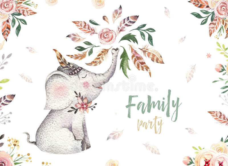 Cute baby elephant nursery animal isolated illustration for children. Bohemian watercolor boho forest elephant family stock illustration