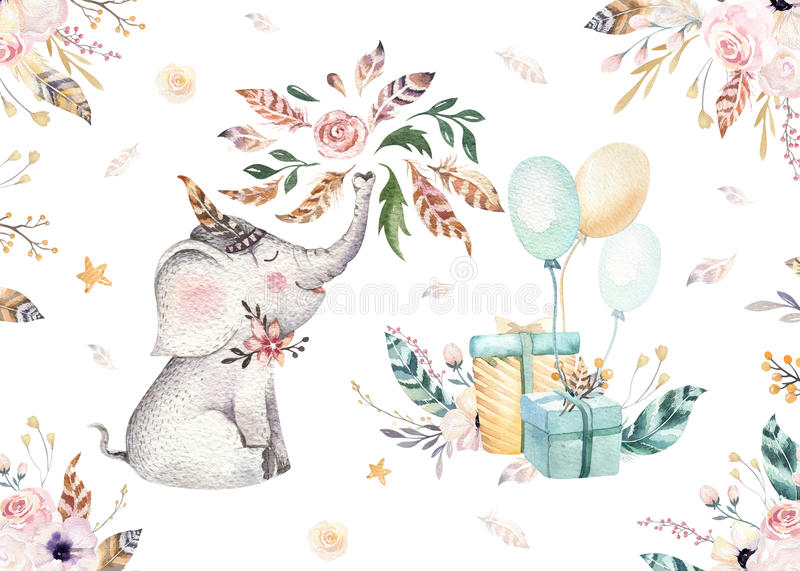 Cute baby elephant nursery animal isolated illustration for children. Bohemian watercolor boho forest elephant family. Drawing, watercolour image. Perfect for royalty free illustration