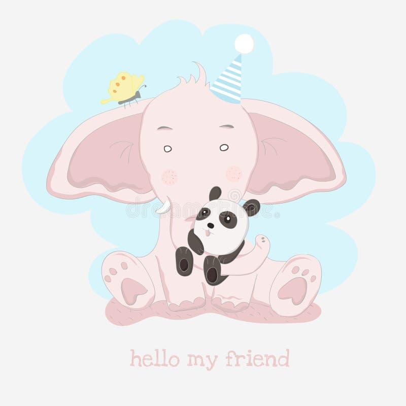 The cute baby elephant and panda. cartoon animal hand drawn style vector illustration