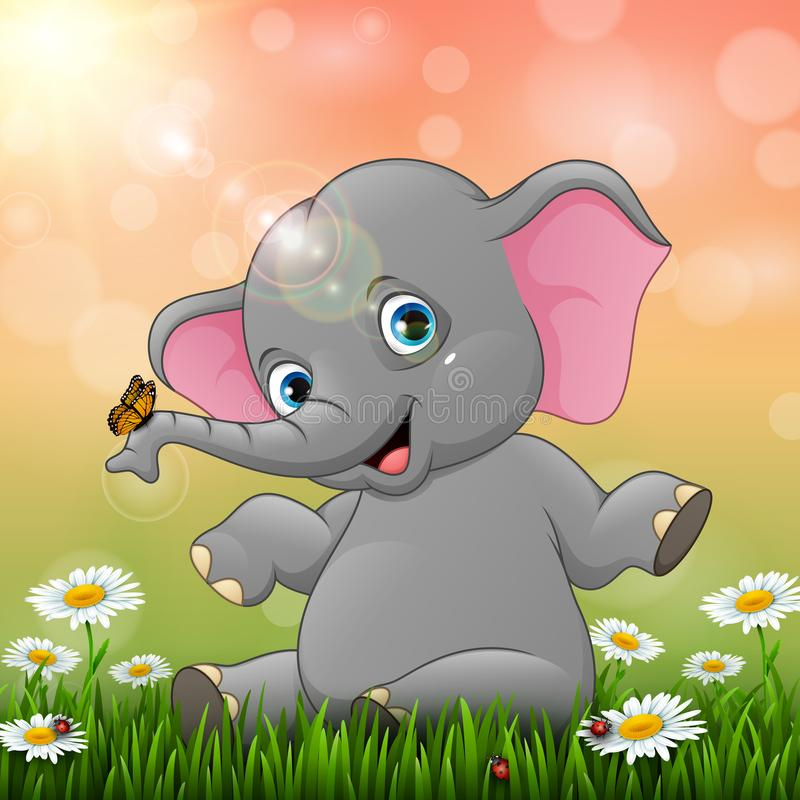 Cute baby elephant sitting on grass background stock illustration