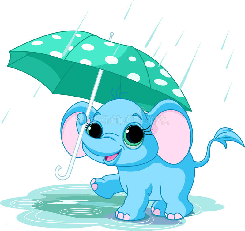 Cute baby elephant under umbrella vector illustration