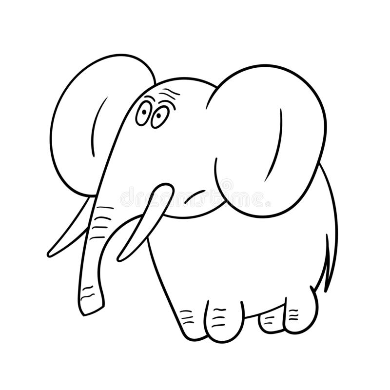 Cute baby elephant. Vector illustration. Coloring book for kids royalty free illustration