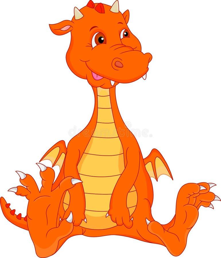 Cute baby fire dragon cartoon royalty free illustration