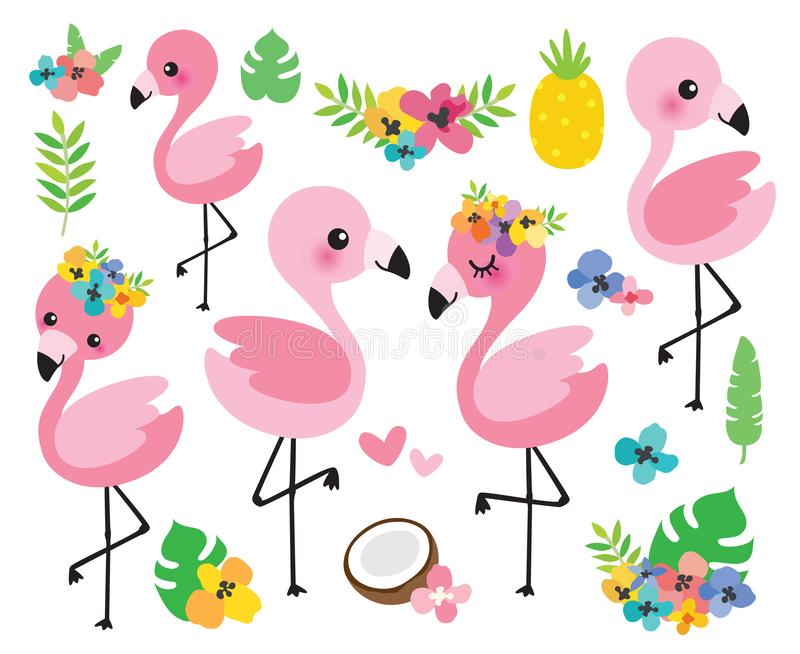 Cute Baby Flamingos and Tropical Flowers Vector Illustration. Vector illustration cute baby flamingos with tropical flowers and palm leaves vector illustration
