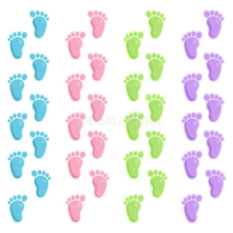 Cute baby foot prints royalty free illustration