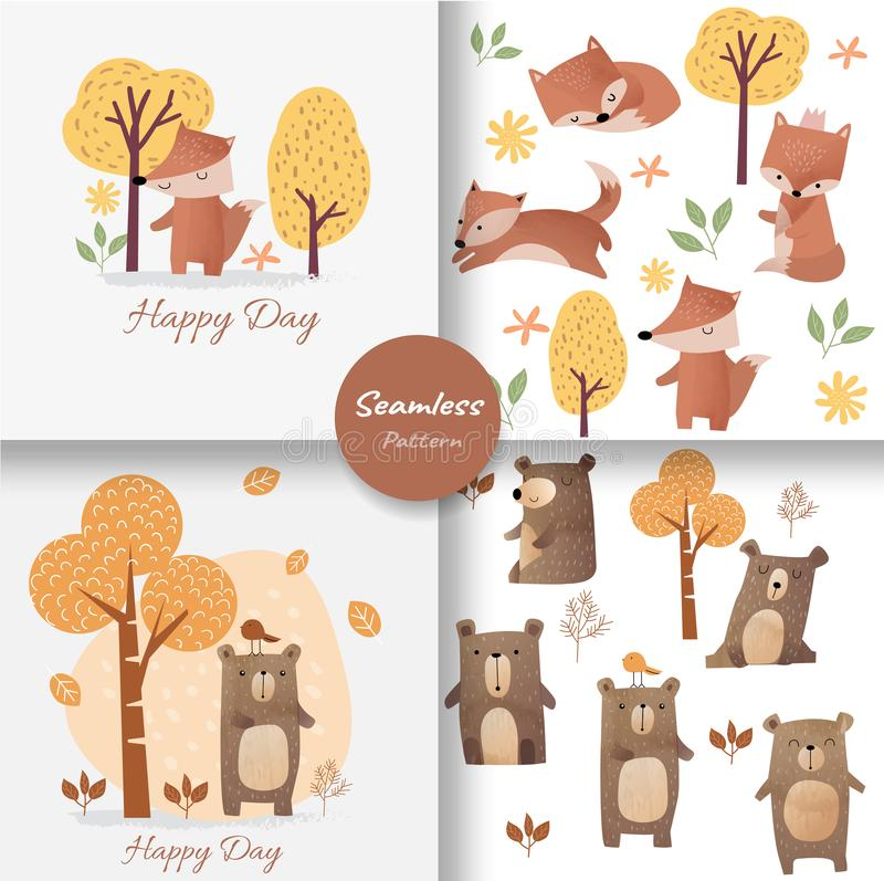 Free Cute Baby Fox And Bear Seamless Pattern, For Fabrics, Textiles, Children`s Wear, Wrapping Paper Royalty Free Stock Image - 153606546
