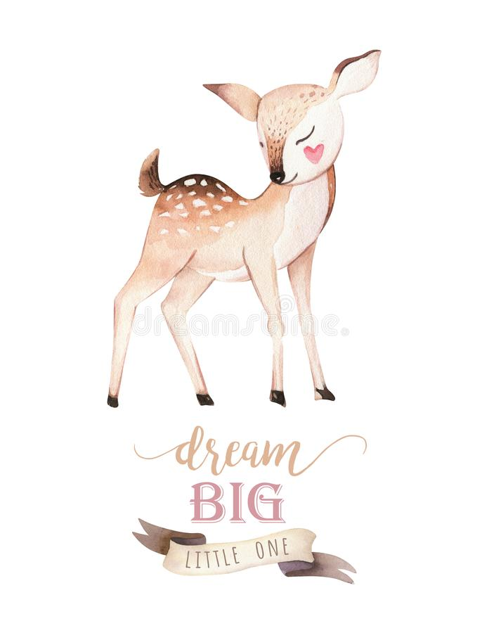 Cute baby fox, deer animal nursery bird and bear isolated illustration for children. Watercolor boho forest drawing stock illustration