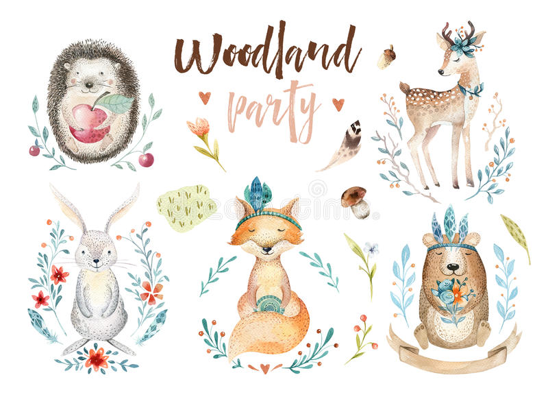 Cute baby fox, deer animal nursery rabbit and bear isolated illustration for children. Watercolor boho forestdrawing royalty free illustration