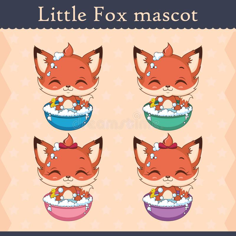 Cute baby fox mascot set - bathing pose royalty free illustration