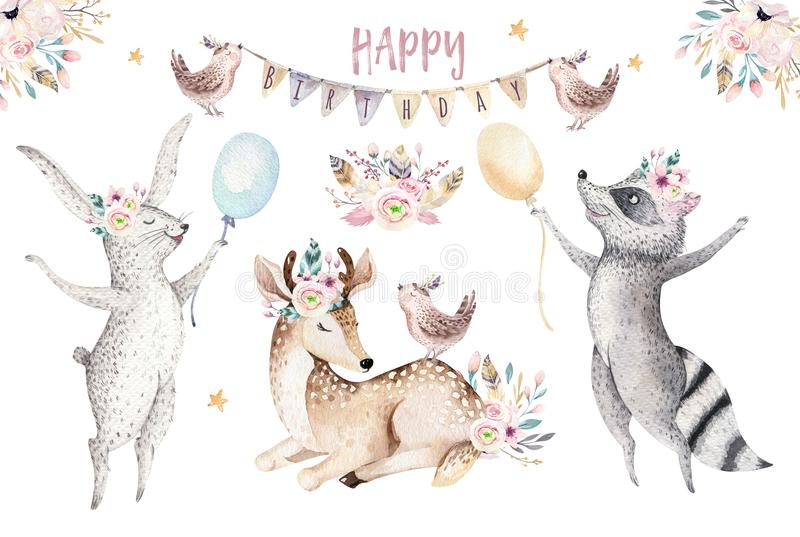 Cute baby giraffe, deer animal nursery mouse and bear isolated illustration for children. Watercolor boho forest cartoon royalty free illustration