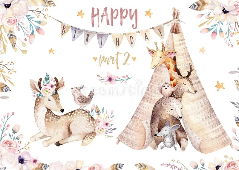 Cute baby giraffe, deer animal nursery mouse and bear isolated illustration for children. Watercolor boho forest cartoon stock illustration