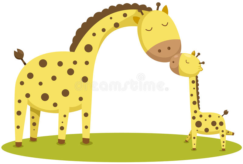 Cute baby giraffe and mother stock illustration
