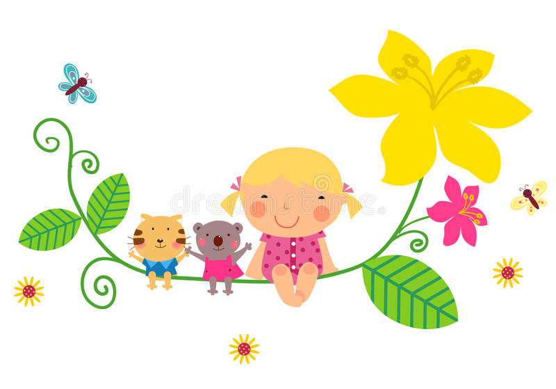 Cute baby girl and animals. Illustration of cute baby girl and animals vector illustration