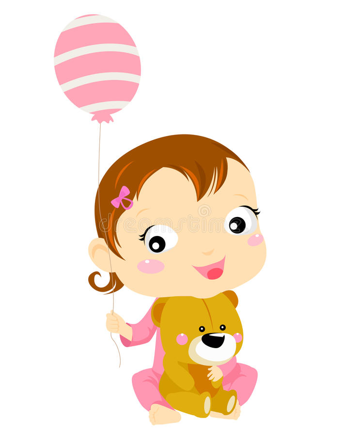 Download Cute Baby Girl With Balloon And Teddy Stock Images - Image: 20867074