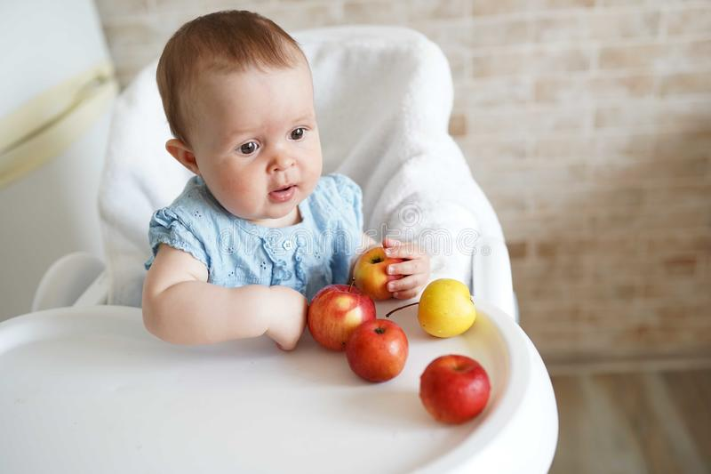 Cute baby girl eating apple in the kitchen. Little kid tasting solids at home. Baby led weaning. copy space royalty free stock photo