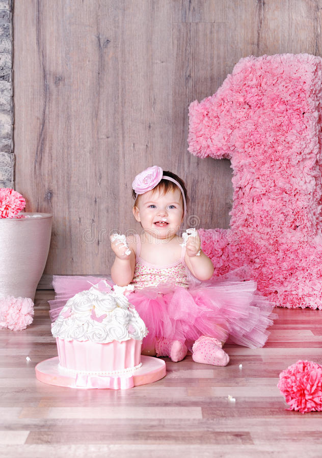Cute Baby Girl Eating First Birthday Cake Stock Photo Image Of