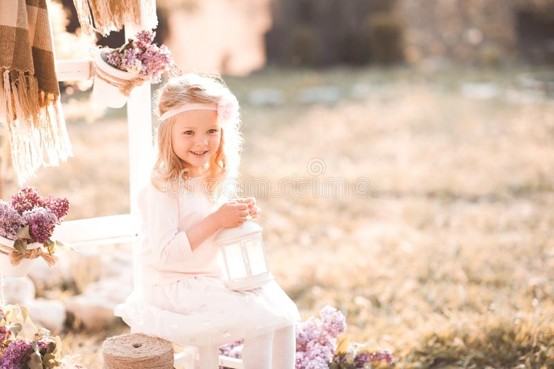 Kid girl outdoors royalty free stock photo