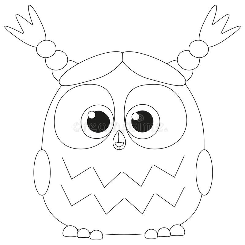 Cute Baby Girl Owl Black And White Poster Stock Vector ...