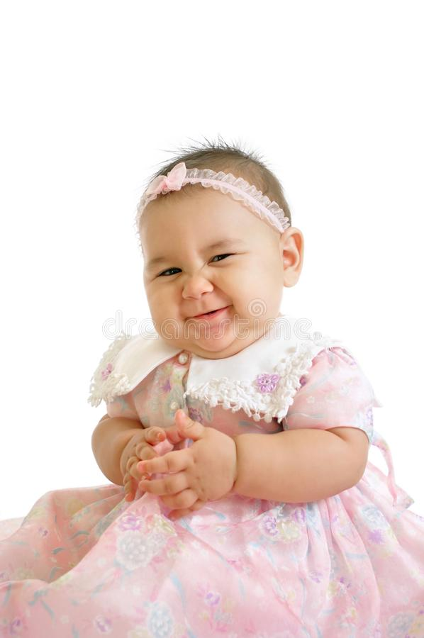 Download Cute baby girl in pink stock photo. Image of together - 10688250