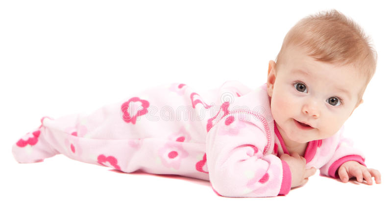 Cute baby girl in pink isolated. On white stock photo