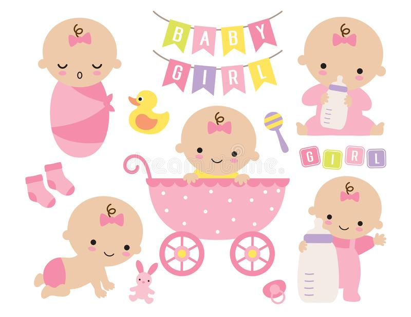 Cute Baby Girl in a Pink Stroller with Baby Items vector illustration