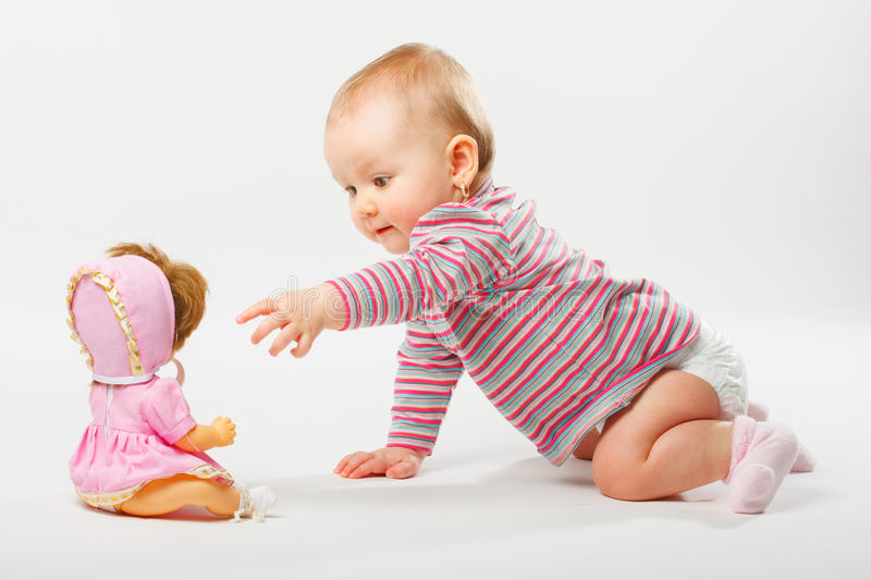 Download Cute baby girl playing stock photo. Image of adorable - 33625476