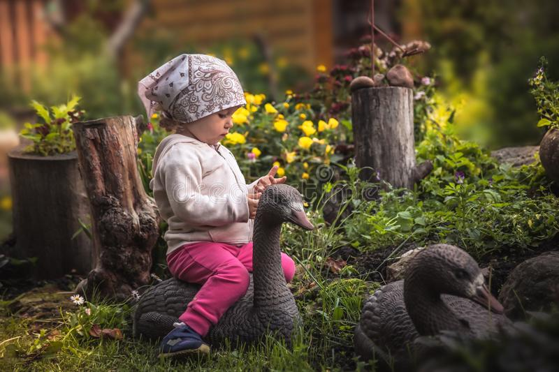 Cute baby girl playing in fairy blossoming garden in countryside with goose among beautiful flowers in summer day symbolizing happ. Beutiful baby girl playing in stock photography