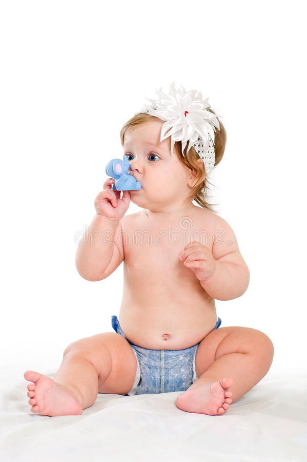 Download Cute Baby Girl Plays With Rubber Toys Stock Photo - Image of caucasian, diaper: 27529398