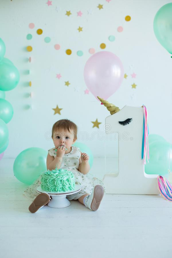 Cute baby smash cake girl royalty free stock images
