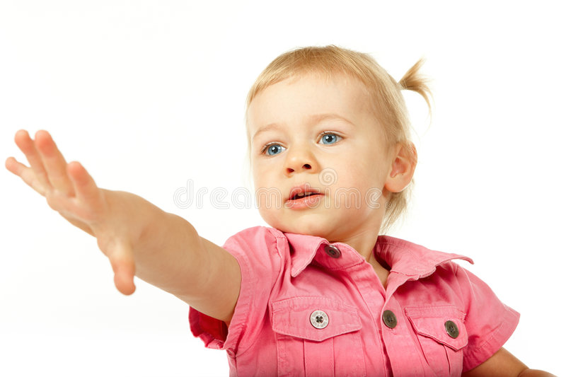 Download Cute Baby Girl Reaching For Something Stock Photo - Image of caucasian, outstretched: 7613492