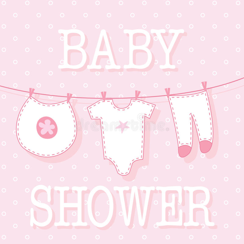 Cute baby girl shower with baby clothes design vector illustration