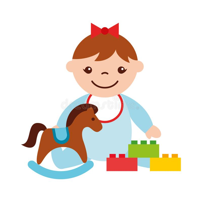 Cute baby girl sitting with rocking horse toy kid vector illustration