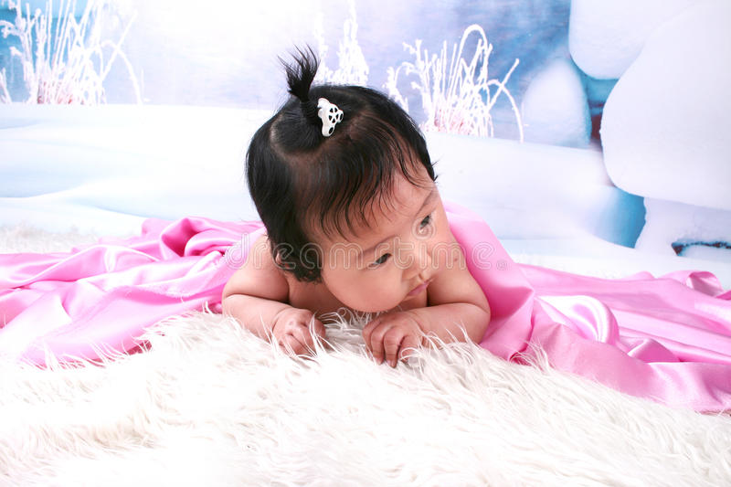 Download Cute Baby Girl Under Blanket Stock Image - Image of innocent, copy: 16612247