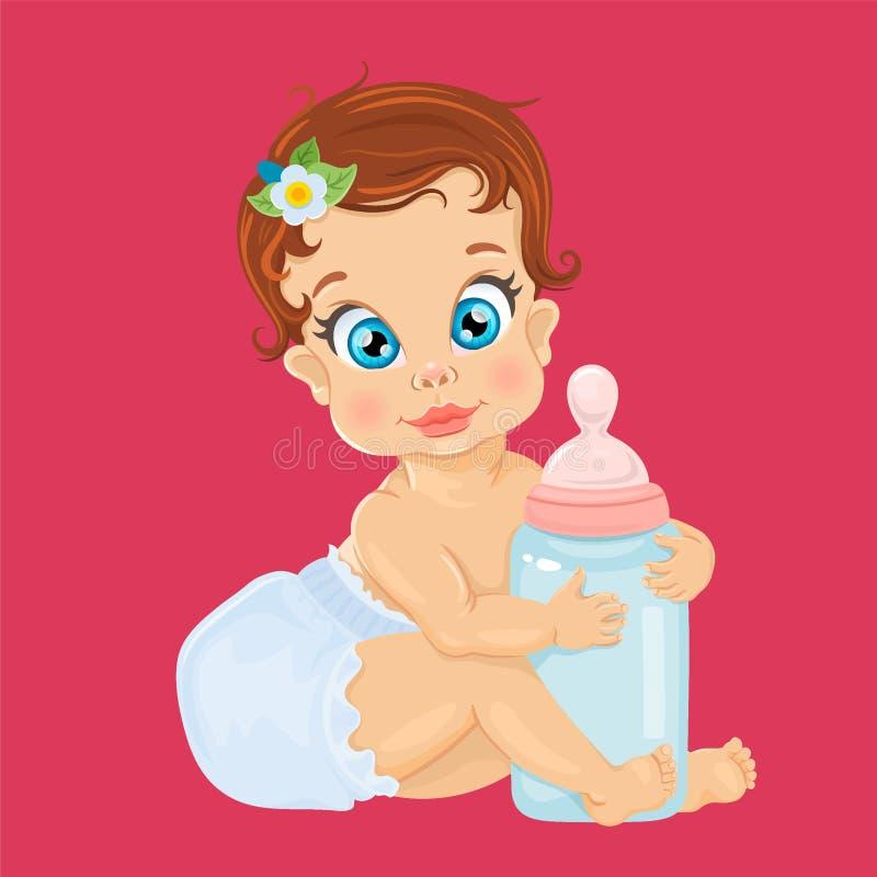 Cute baby girl. Vector illustration. royalty free illustration