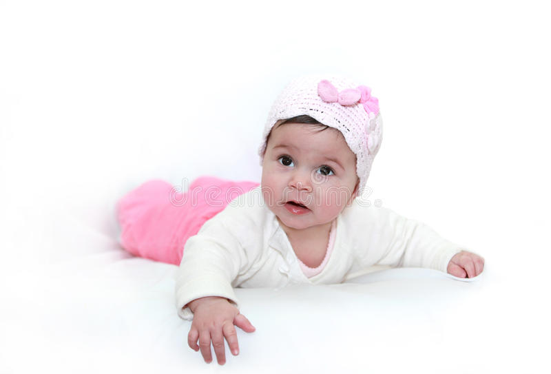 Cute baby girl on white royalty free stock photo