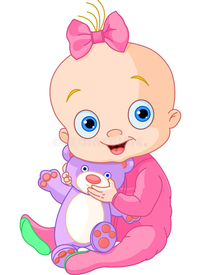 Free Cute Baby Girl With Teddy Bear Royalty Free Stock Images - 24854569