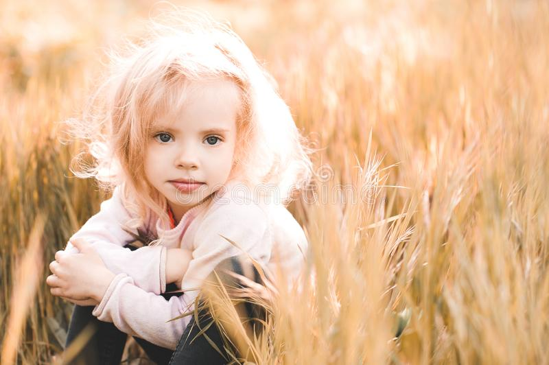 Kid girl outdoors royalty free stock photos