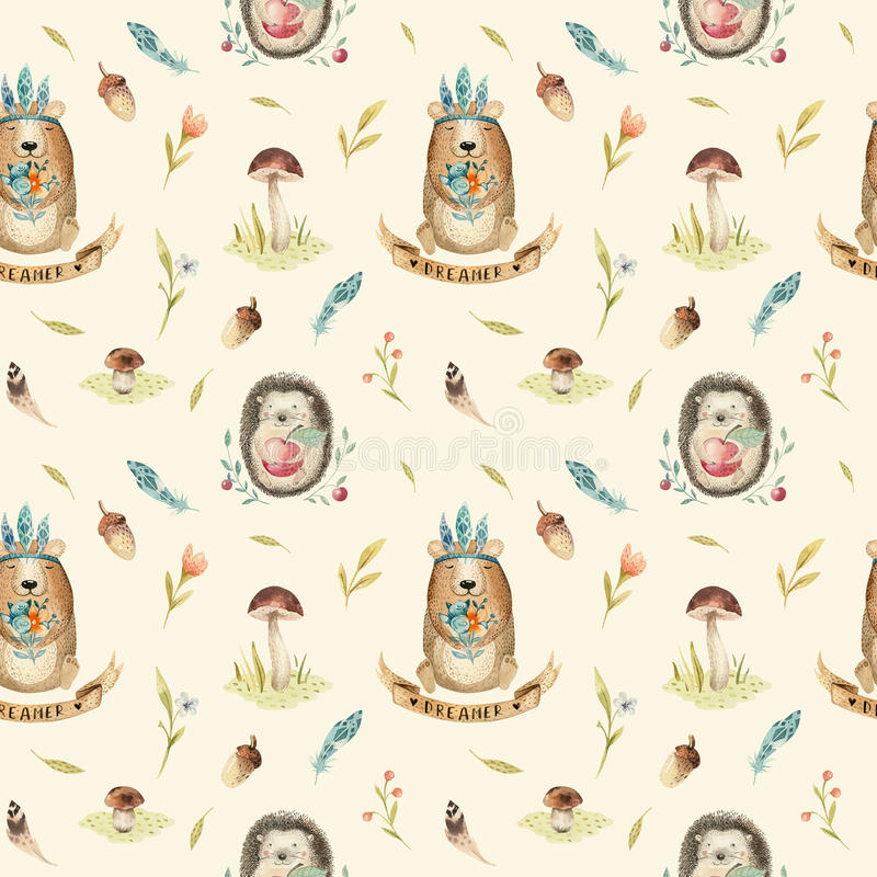 Cute baby hedgehog and bear animal seamless pattern for kinderg vector illustration