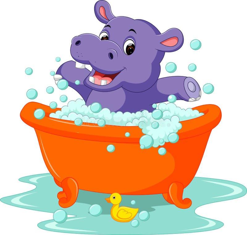 Cute baby hippo Cartoon vector illustration