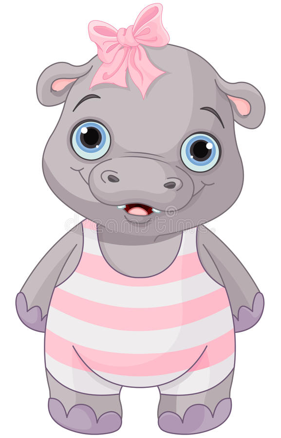 Cute Baby Hippo vector illustration