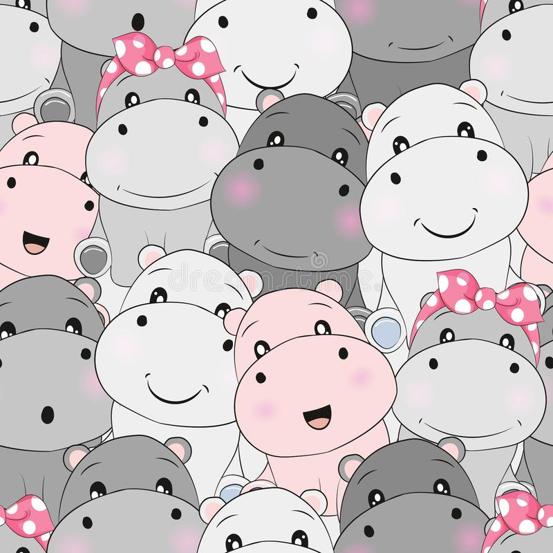 Cute baby hippo seamless pattern stock illustration