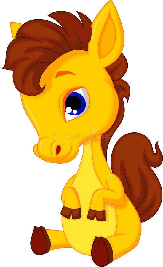 Cute baby horse cartoon vector illustration