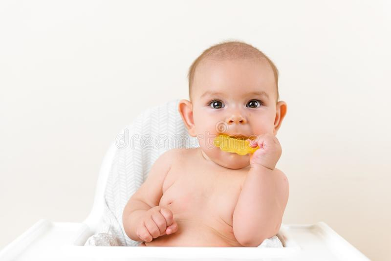Cute baby infant kid biting sitting in highchair and chewing yellow eething toy copy space bright minimal healthcare. Cute baby infant kid biting sitting in stock image
