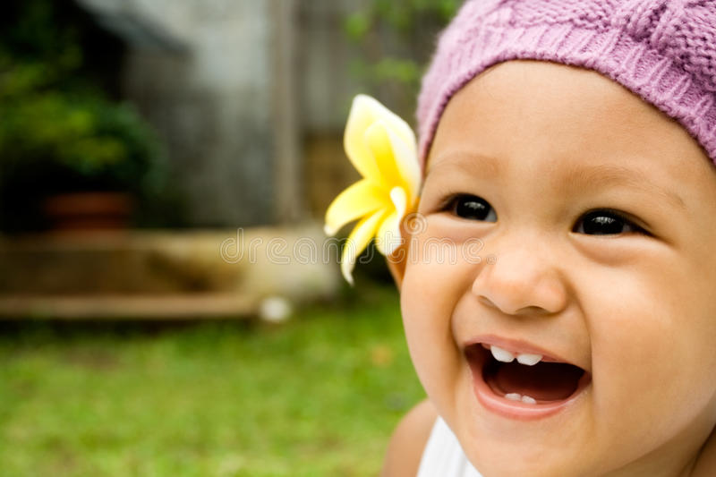 Cute baby laughing stock photos