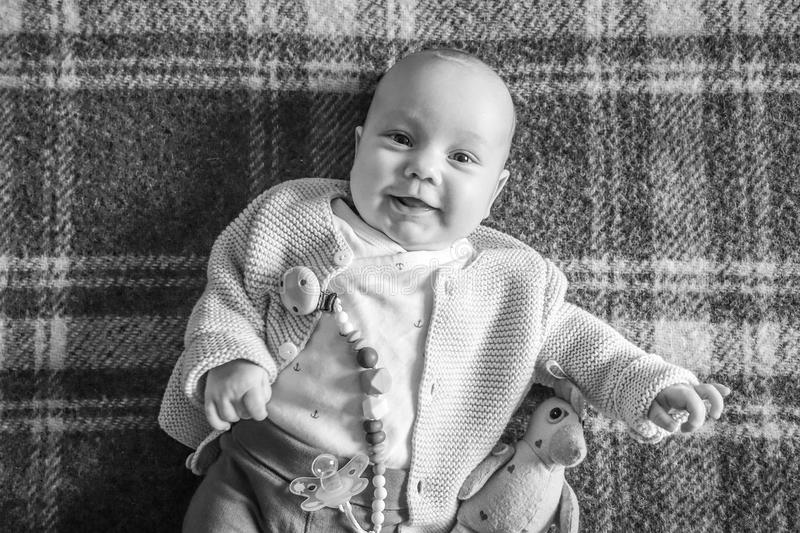 Cute baby laughing royalty free stock photo